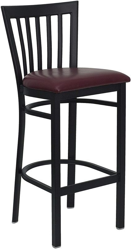 HERCULES Series Black School House Back Metal Restaurant Barstool - Burgundy Vinyl Seat. The metal barstool is a popular choice for furnishing restaurants, pool halls, lounges, bars and other high traffic establishments. This stool is easy to clean, which is an important aspect when it comes to a business. This stool was designed to withstand the daily rigors in the hospitality industry, but will also provide a chic look to your home. The thick, foam padded seat will keep users comfortable…