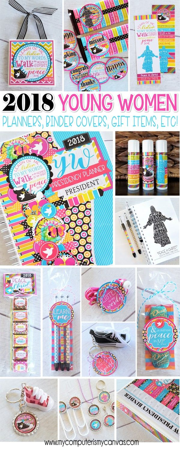 2018 LDS YW theme, Peace in Christ - Young Women Printables, lots of printables and gift ideas, presidency planner, etc. SO CUTE!! #mycomputerismycanvas