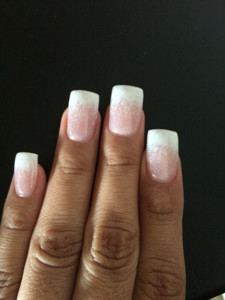 White Ombre Tip Gel Nails With Glitter Glitter Gel Nails White Tip Nails White Glitter Nails