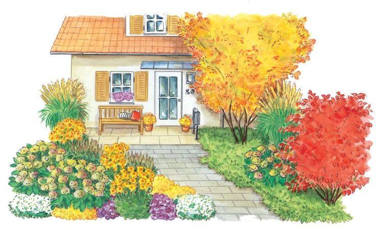 Das Stück Grün vor dem Haus ist der Gartenteil, den wir selbst am häufigsten sehen. Mit unserer Gestaltungsidee verwandelt sich dieser Vorgarten im Herbst in ein prächtiges Farbenspektakel