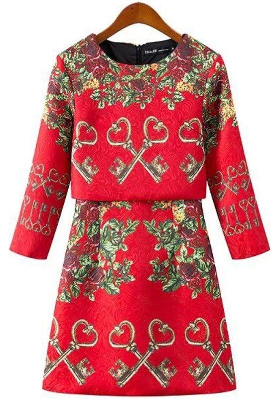 Red Flowers Key Round Neck Three Quarter Length Sleeve Dress