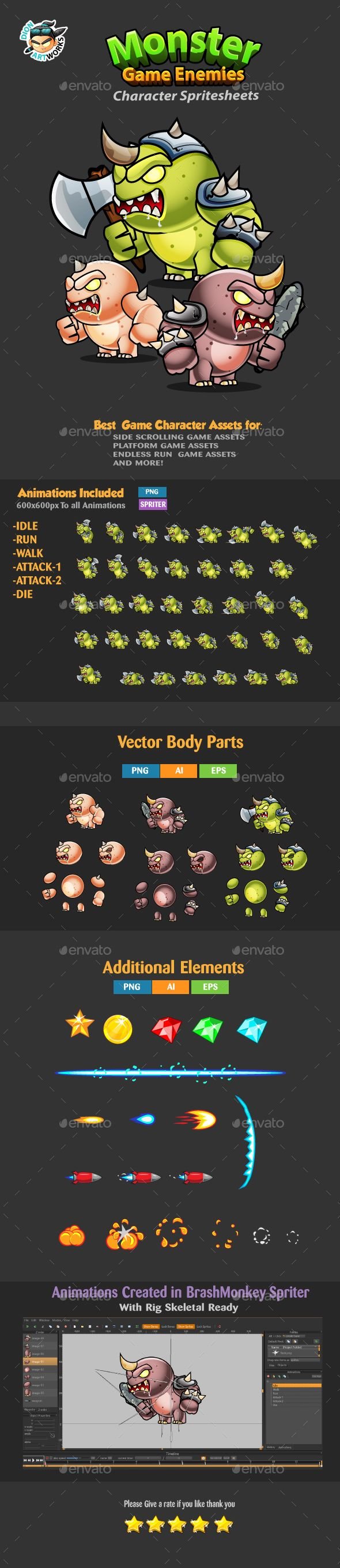 Monster Game Enemies Character Sprites 234 - Sprites #Game Assets Download here: https://graphicriver.net/item/monster-game-enemies-character-sprites-234/17087670?ref=alena994