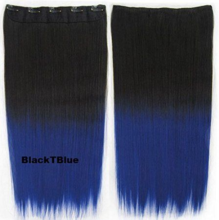 Simpleyourstyle 10Colors Thicken Ombre Hair Extension Epacket shipment ,10-15 business days , special gift added Straight Synthetic Clip in on Hair Extension for Women Full Head hair extension,ombre Black Pink Purple Green Blue Hair Extensions for Women Girls,1pc Weft=5clips Conneted (2TBurg)