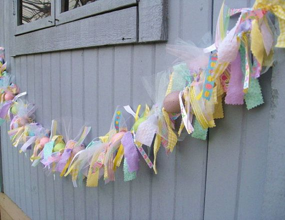 burlap easter decorations   ... , Easter Decorations, Easter Ribbon and Fabric Garland, Easter Decor