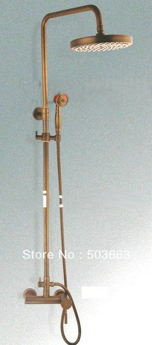 Fashion New style Wall Mounted Rain Shower Faucet Mixer Tap b0008 Antique Brass Bath Shower Set