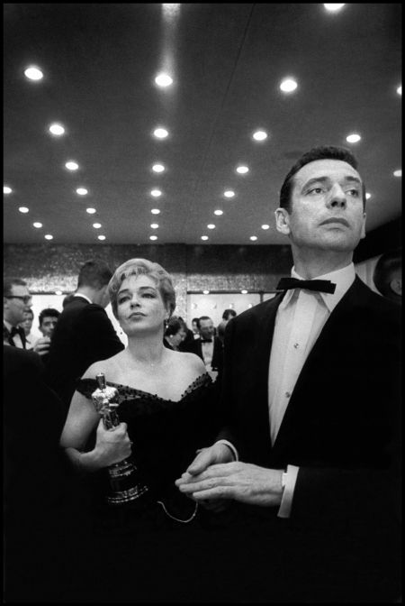 Simone Signoret & husband Yves Montand the night she won Best actress for Room at the Top (1958)