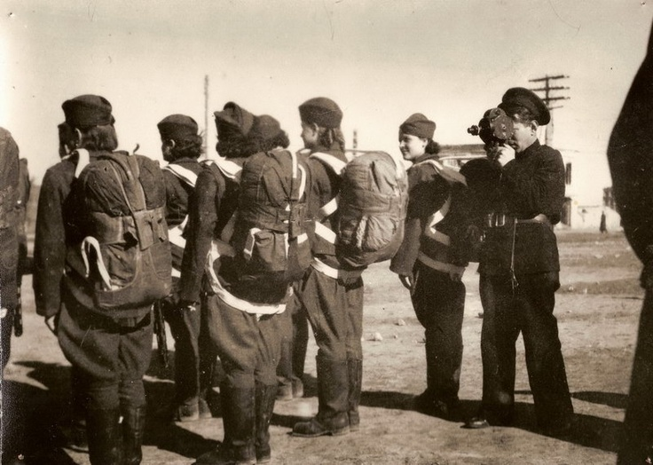 """Czech women-paratroopers at their training. From photoalbum """"Women in the Units of the Czechoslovak Army in the USSR""""."""