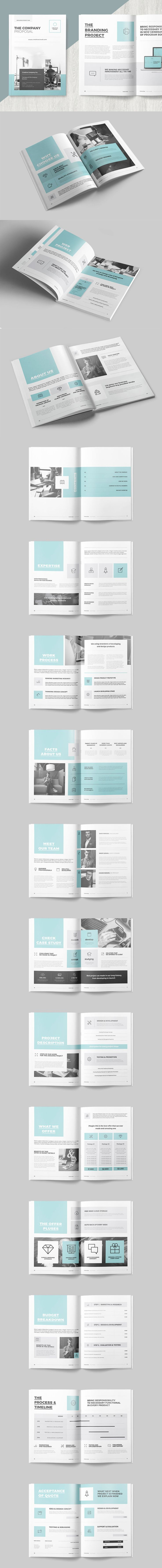 Clean and Professional Proposal Design Template InDesign INDD - 40 Pages, A4 International And Us Letter Size