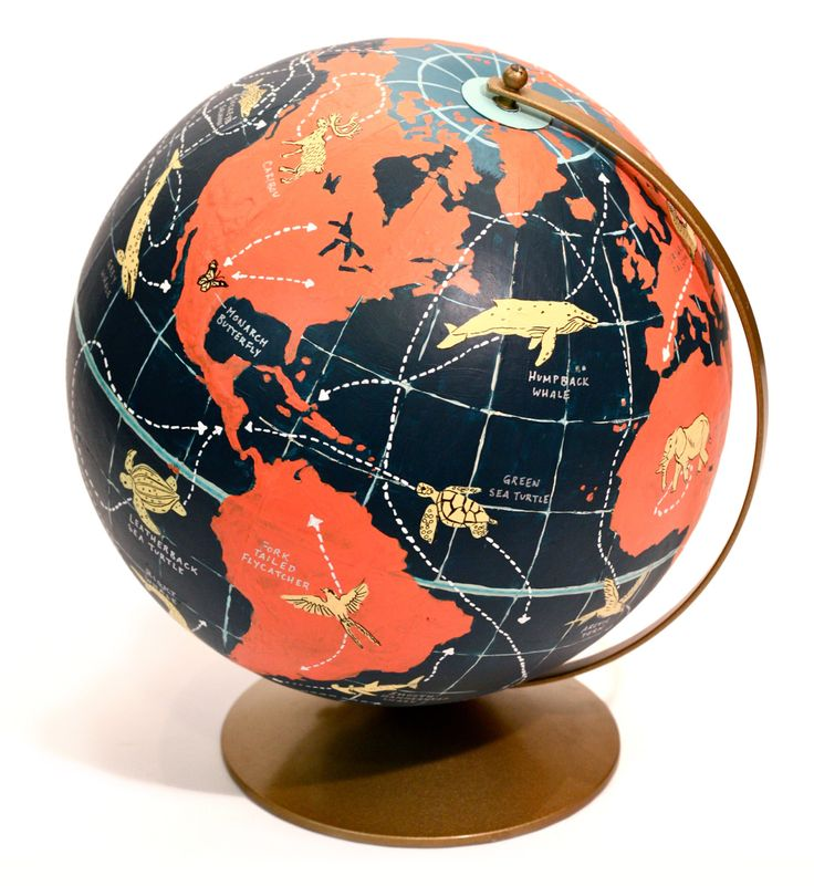 Hand Painted Globe of Animal Migration Routes Caleb