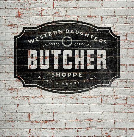 Modern Vintage Logo for Butcher Shop   Once New Vintage in Sign