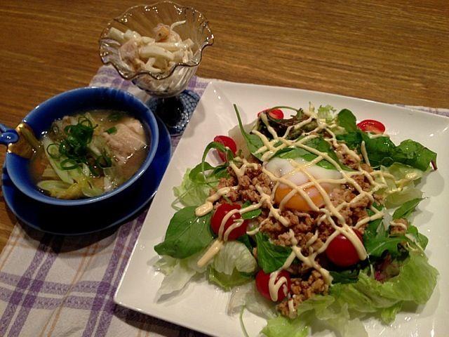 こんばんはー(^_−)−☆  もくもく木曜日が終わりましたー。今日は、シシリアンライス。有門亭のホルモン、焼肉のタレを使って味付け!今日は、とりミンチがあったので、ミンチでー。野菜もたくさん、たべれました。サラダは、柿と大根、ゴママヨで(*^_^*) ほんのり甘い柿が美味しい!さー、今日は、明後日から、壱岐に行くので、HIROさんの実家に、荷物をとりにいきます。ではではー*\(^o^)/* - 5件のもぐもぐ - シシリアンライス   大根と柿のサラダ   中華スープ by 126kei