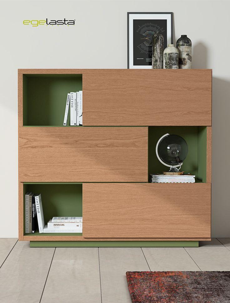 Egelasta · Mueble · Moderno  · Madera · Mobiliario de hogar · Catálogo New Live · Día · Comedor · Aparador cuadrado · Roble siroco y laca verde