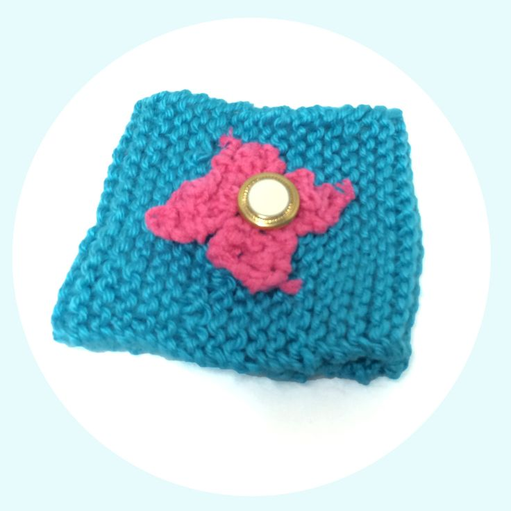 Blue and Pink Knitted Cup Cozy, Gift For Coffee Lover With Knitted Flower, Present for Tea Lover, Coffee and Tea Accessories, To Go Cup Cozy by NiftynNeedlin on Etsy