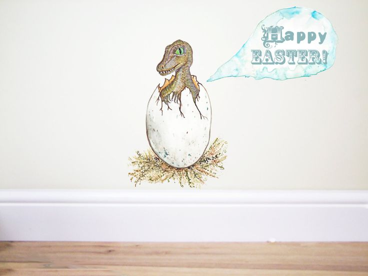 Dinosaur Hatching egg wall decal, dinosaur wall sticker by TheWoodlandHaven on Etsy