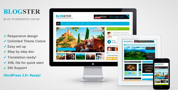 Blogster - Responsive Blog WordPress Theme   http://themeforest.net/item/blogster-responsive-blog-wordpress-theme/3998708?ref=damiamio       Blogster is a Responsive WordPress Blog Theme.  The main advantage of this theme is fully customizable theme colors, with help theme options panel!  Also, the content of the main page is a custom, and is formed using theme shortcodes. You can display an unlimited number of categories, and change the color of the categories, etc. You can also display…
