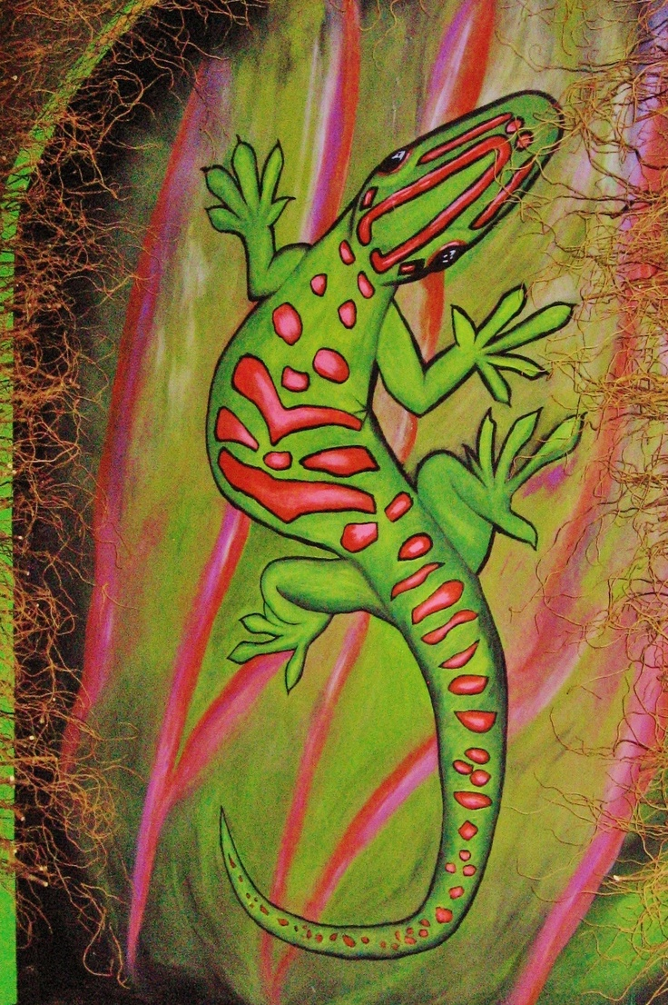 Very large 11'x18' Playful Gecko mural!