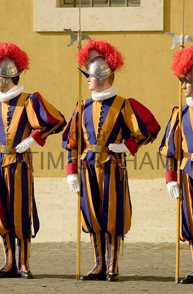 Swiss ceremonial guards in traditional striped uniforms at the Vatican, Vatican City - Photo by Tim Graham