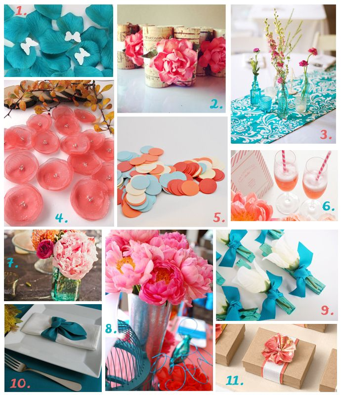 Teal Wedding Ideas For Reception: Teal And Coral Wedding Table Decorations