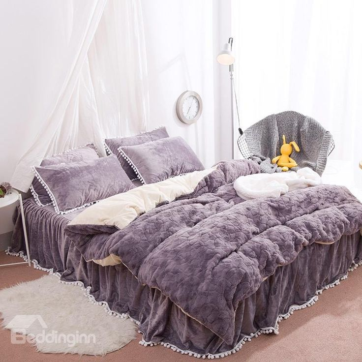 Solid Purple With Decorative Fuzzy Ball Faux Rabbit Fur