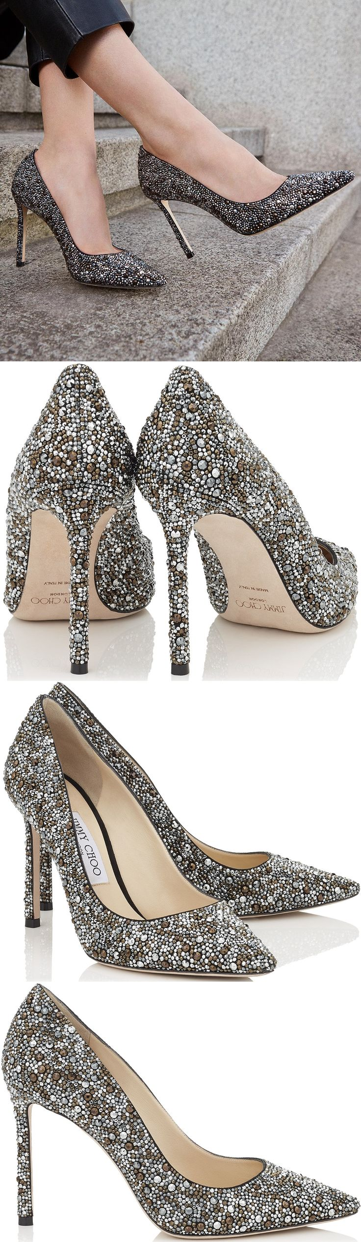 Jimmy Choo Romy Black Suede Pointy Toe Pumps with Crystal Hotfix