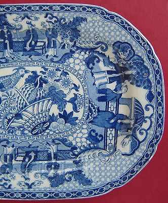 Adams Pearlware Platter Blue & White Chinoiserie c1820