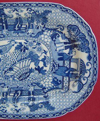 Adams Pearlware Platter Blue & White Chinoiserie c1820