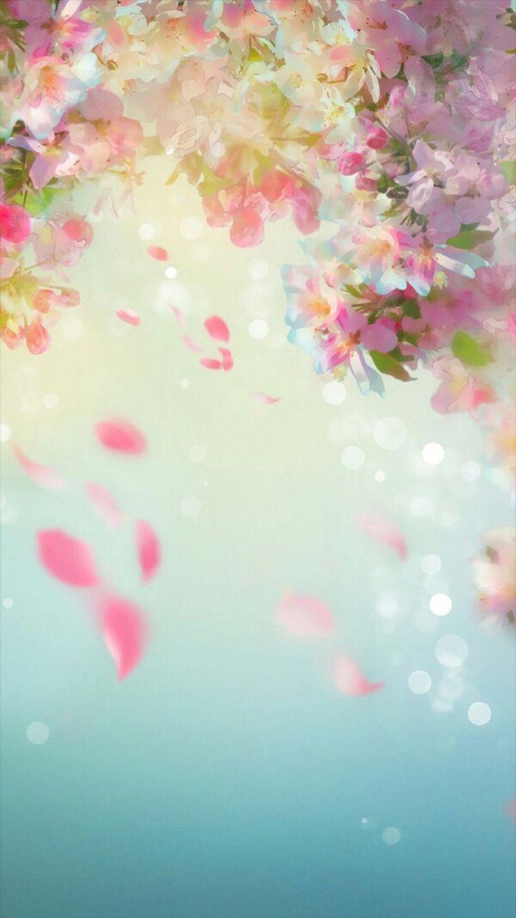 Flower petal painting wallpaper.Flowers, petal, dream, watercolor, green, vintage, iPhone, Android, backgrounds, HD, Sazum 2017.