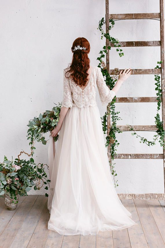 Bohemian Wedding Dress , Two Piece Wedding Dress,…
