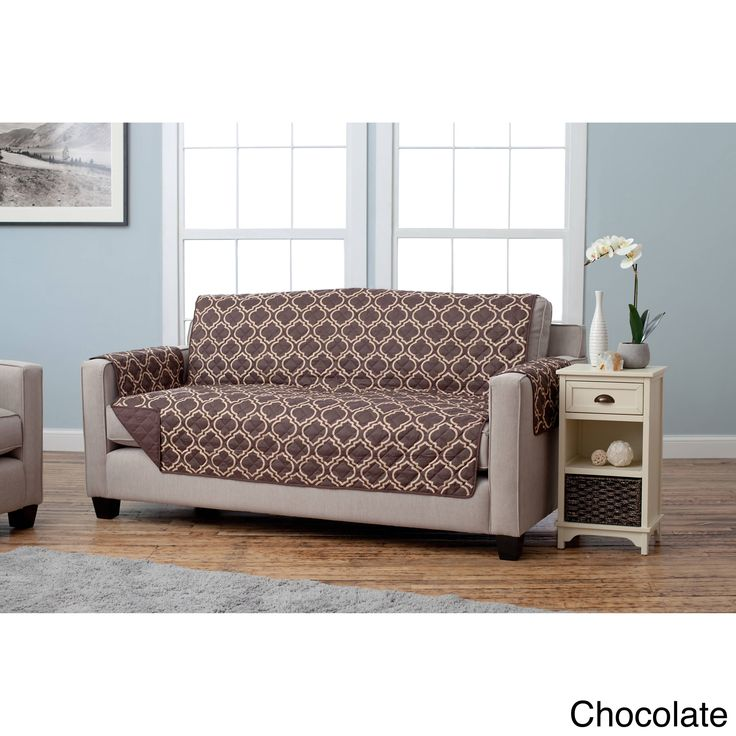 Home Fashion Designs Adalyn Collection Printed Reversible Sofa Protector (Chocolate), Brown
