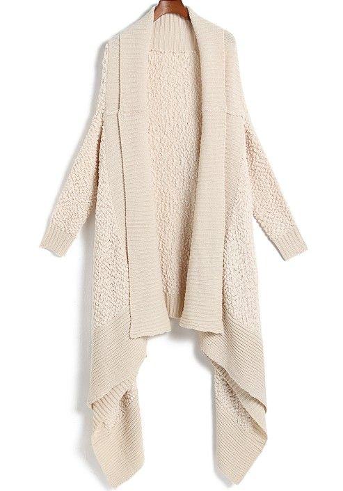 Apricot Long Sleeve Shawl Cardigan - Sheinside.com