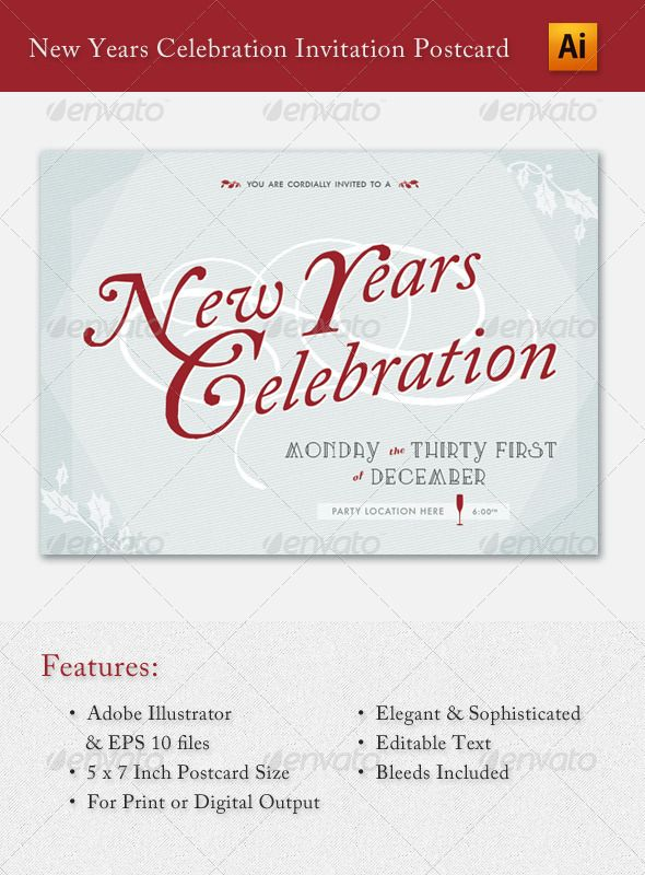 New Years Celebration Invitation Postcard Postcard size - postcard format template