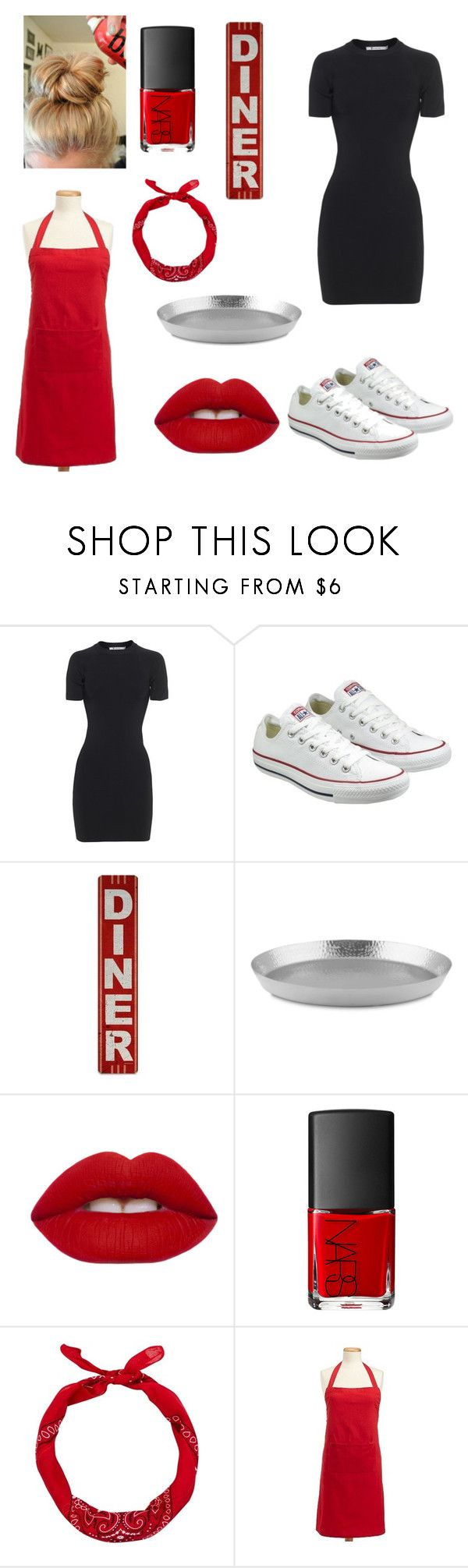 """waitress outfit"" by ellenkerry21 ❤ liked on Polyvore featuring T By Alexander Wang, Converse, Lime Crime, NARS Cosmetics and Design Imports"