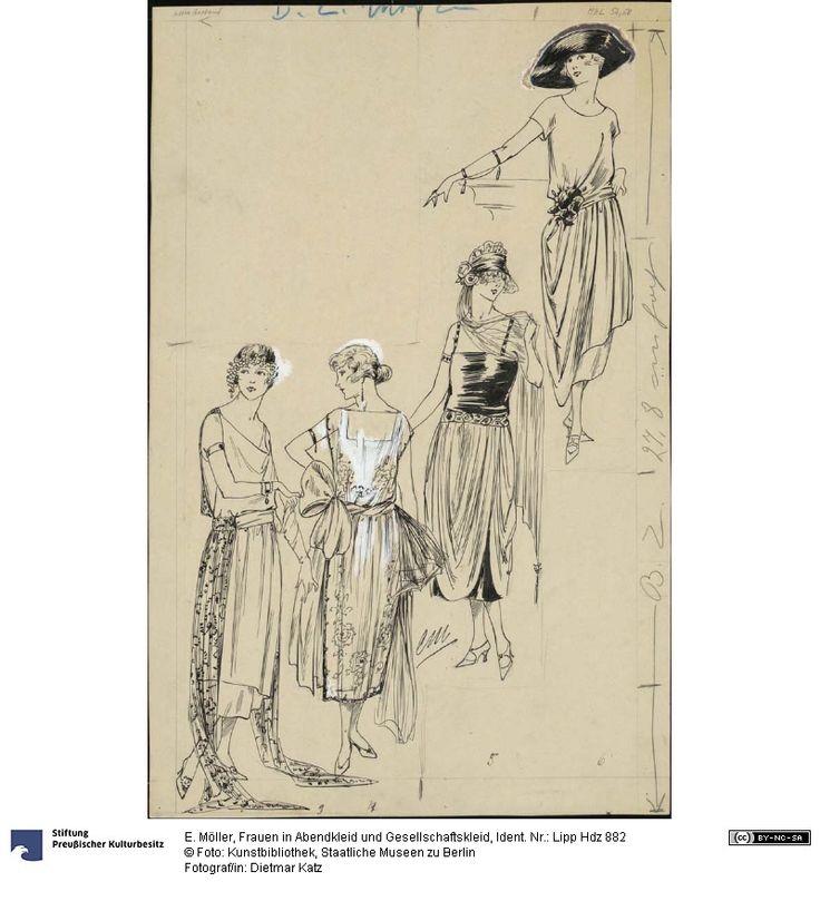 """vier Abend- und Gesellschaftskleider<br/> Modezeichnung für die """"BZ am Mittag"""", 15. Januar 1921"""