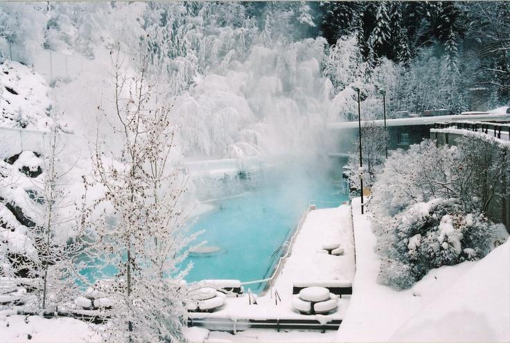 Beautiful winter backdrop at the Radium hot springs