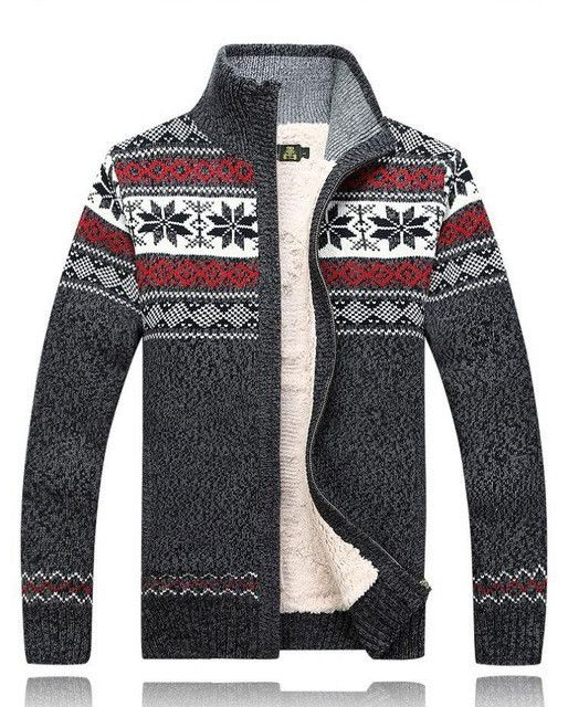 AFS JEEP Fashion Winter Wool Cardigan Masculino Men's Casual Thick Warm Sweater Men
