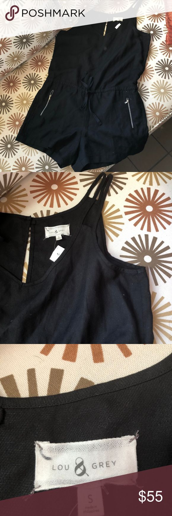 NWT! Anthropologie Brand Lou Grey Small Women NWT! Black Lou Grey Small Women Romper    84% Lyocell 16% Linen   The Romper also has pockets on both sides. Anthropologie Dresses