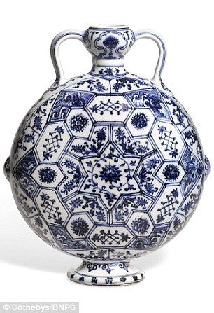 The most expensive item, a 9in blue and white Moon Flask from the 15th century, pictured, fetched £10.4million