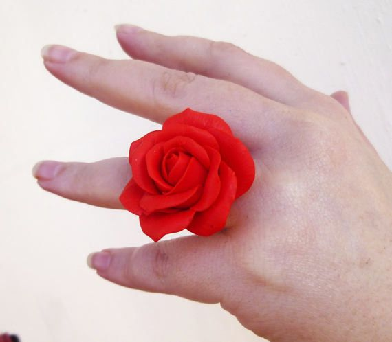 Red ring Large red ring Jewelry rose Flower ring by jewelryNatalie