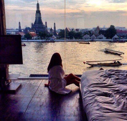Sala Rattanakosin overlooking Temple of Dawn, Bangkok