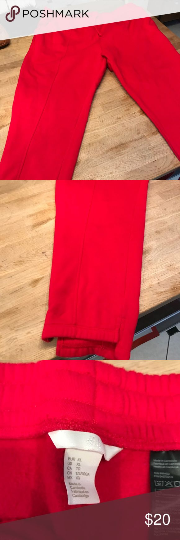 H&M red joggers xl Worn twice. H &M cozy joggers. A roomy relaxed fit for a cozy winter day. No smoke or pets. H&M Pants Track Pants & Joggers