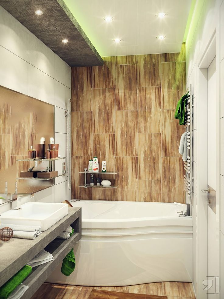 beautiful modern small bathroom design with green lighting effect and wooden ceramic backplash and white bathtub