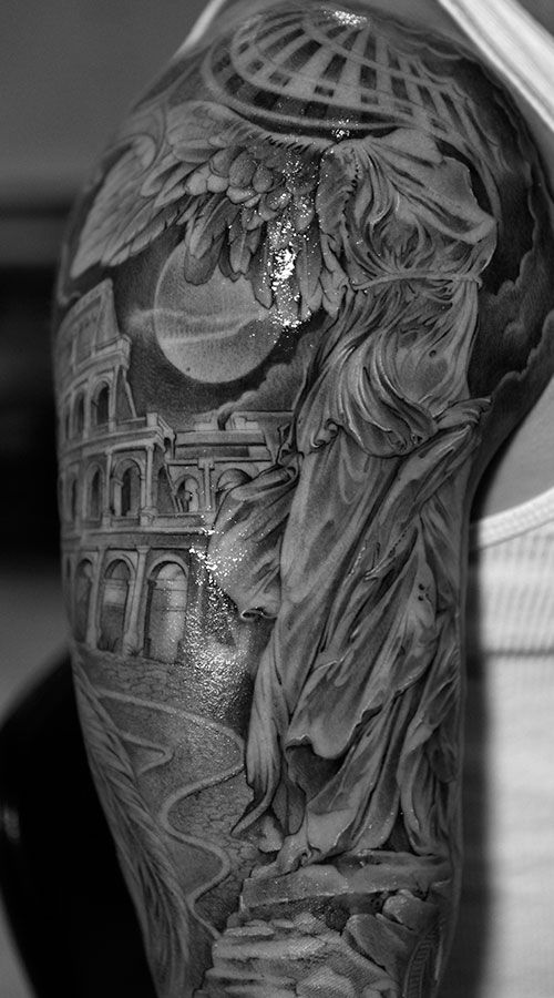 Samothrace and Coliseum black and white tattoo from ...