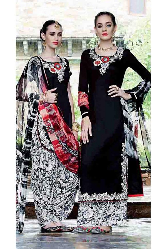 Chic Black Cotton Embroidered Patiala Salwar Kameez