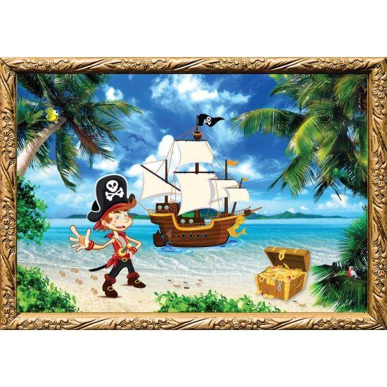 Piraten poster, kinder kapitein. Formaat A2 - 59 x 42 cm. Leuke piraten thema poster voor op een piratenfeestje of kinderkamer.