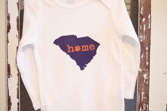 Clemson South Carolina Home Onesie with Paw by RaeLeeGraceDesigns