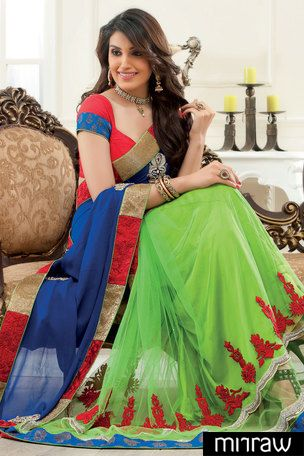 Exclusive Parrot green Georgette & Net combo half & half thread & zari worked saree in multi colour border & royal blue zari worked pallu along with red raw silk blouse in blue border to give you a posh look.
