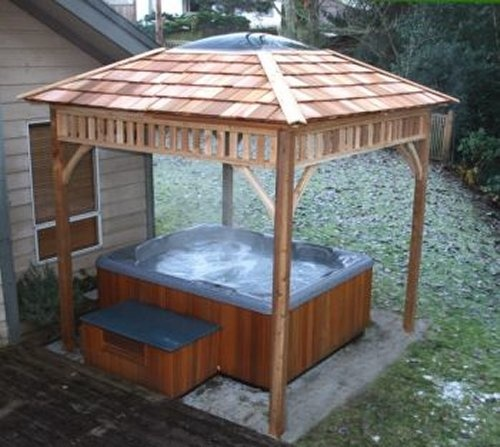 36 best hot tub ideas images on pinterest for Hot tub shelters