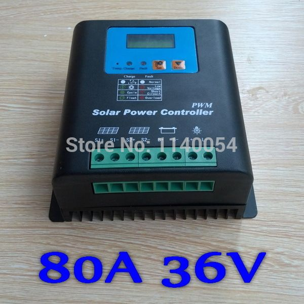 80A Solar Controller PV panel Battery Charge Controller 36V Solar system Home indoor use,PV Dual Input,LCD Display #Affiliate