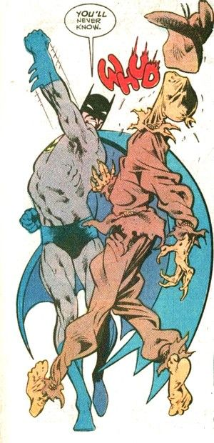 Batman delivers an uppercut to the Scarecrow in this classic panel by artist Alan Davis.