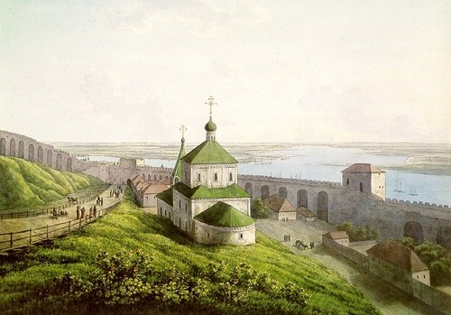Нижний Новгород в 1806 г. на акварели Мартынова  (Nizhny Novgorod, 1806 watercolour by Andrey Yefimovich Martynov)